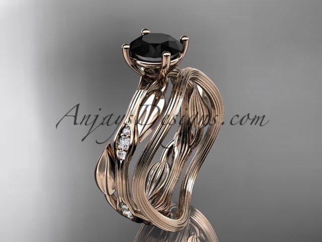 14k rose gold diamond wedding ring set, engagement ring set with Black Diamond center stone ADLR31S