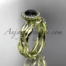 14kt yellow gold engagement set with a black diamond center stone ADLR337A