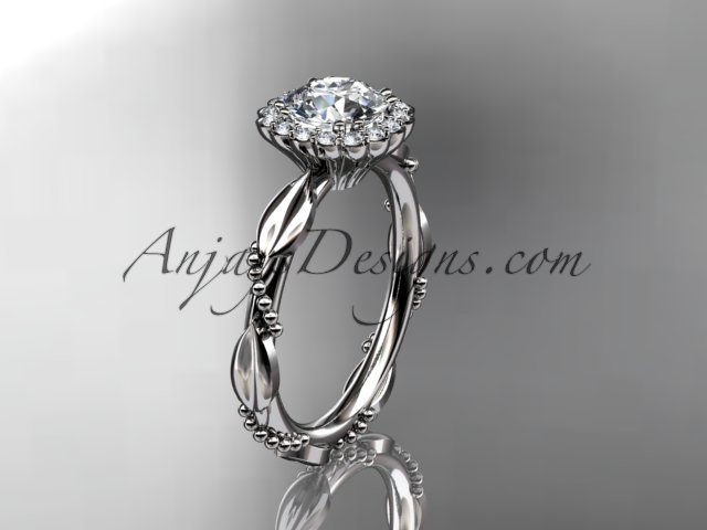 Platinum diamond engagement ring with a moissanite center stone ADLR337