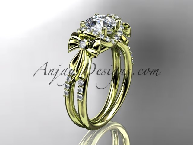 14kt yellow gold diamond unique engagement ring,wedding ring ADER155