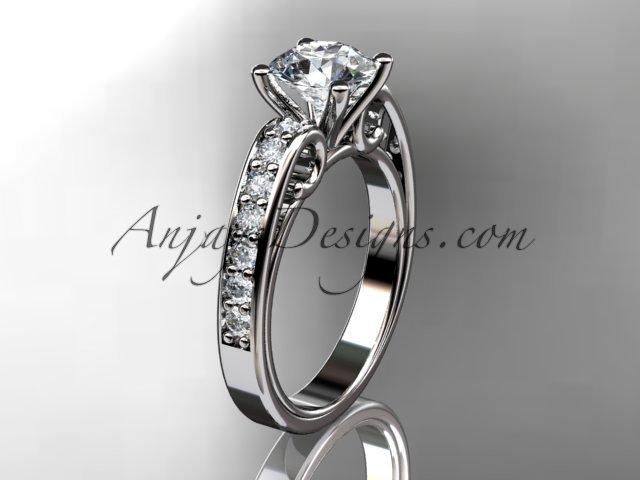 14kt white gold diamond unique engagement ring,edding ring with moissanite center stone ADER142w
