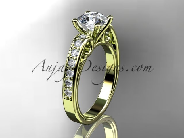 14kt yellow gold diamond unique engagement ring,wedding ring ADER142