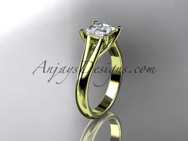 14kt yellow gold diamond unique engagement ring,wedding ring,with moissanite center stone ADER143
