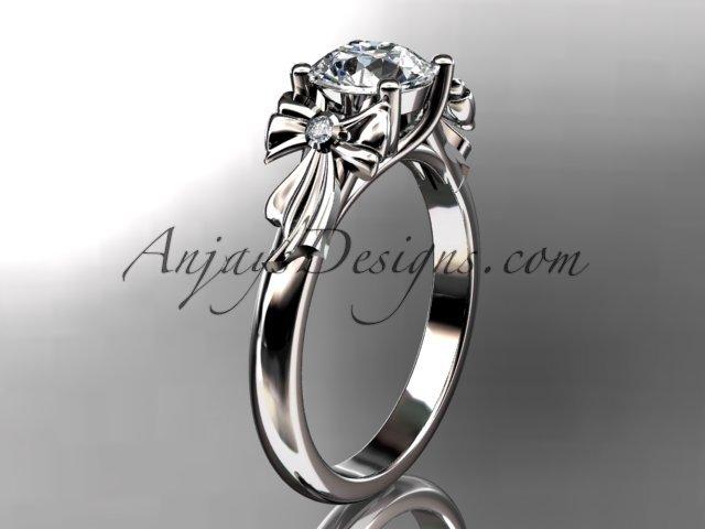 Platinum diamond unique engagement ring,wedding ring with moissanite center stone ADER154