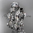 platinum diamond leaf and vine wedding ring,engagement ring,engagement setADLR151