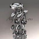 14k white gold diamond leaf and vine wedding ring, engagement ring, engagement set ADLR212