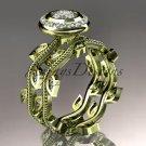 14k yellow gold diamond leaf and vine wedding ring, engagement ring, engagement set ADLR212