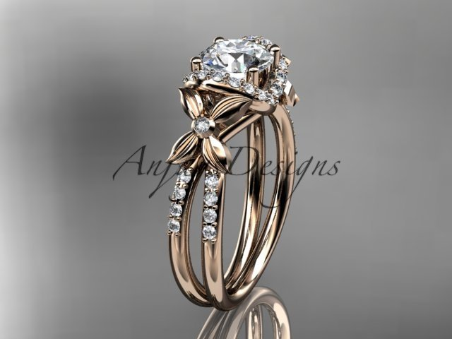 14kt rose gold diamond floral wedding ring, engagement ring ADLR140