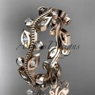 14kt rose gold diamond leaf and vine wedding ring,engagement ring,wedding band ADLF001