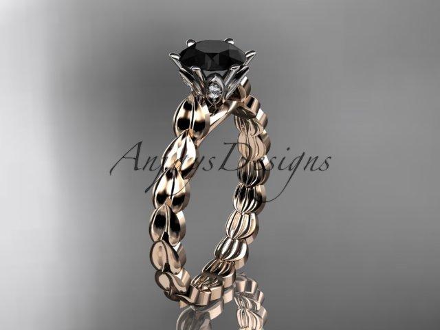 14k rose gold diamond vine and leaf engagement ring with Black Diamond center stone ADLR35