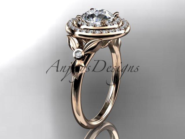 14kt rose gold diamond floral wedding ring, engagement ring ADLR133