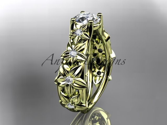 14kt yellow gold diamond floral wedding ring,engagement ring ADLR149