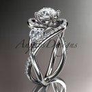 Unique 14kt white gold diamond moissanite engagement ring ADLR320