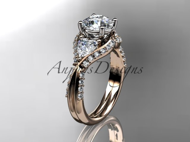 "14kt rose gold diamond engagement ring with a ""Forever Brilliant"" Moissanite center stone ADLR319"