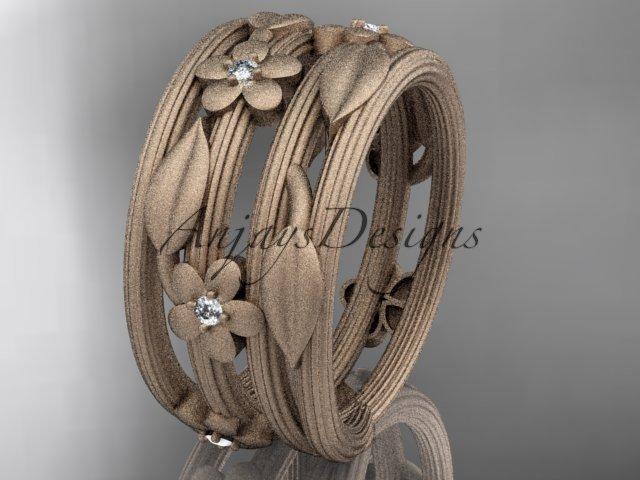 14kt rose gold diamond leaf and vine, floral wedding ring,engagement ring ADLR242B