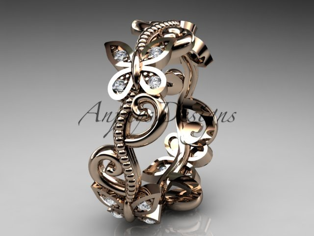 14kt rose gold diamond floral butterfly wedding ring, engagement ring, wedding band ADLR138