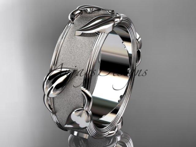 Platinum leaf and vine wedding ring, engagement ring ADLR252G