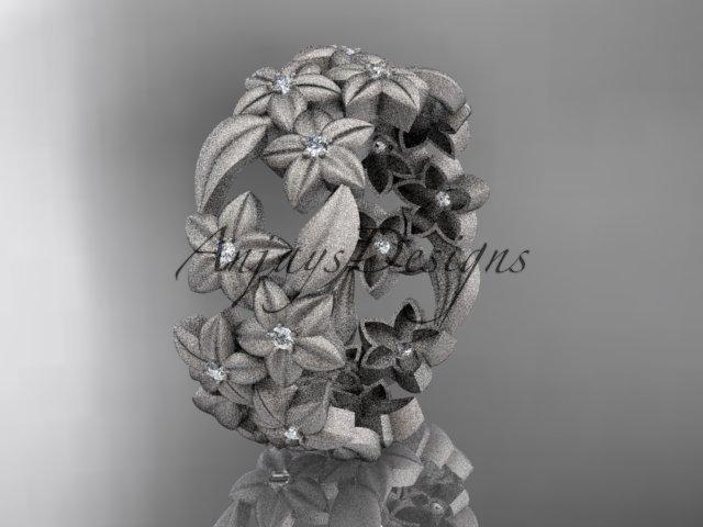Platinum diamond floral, leaf and vine wedding ring,engagement ring ADLR250