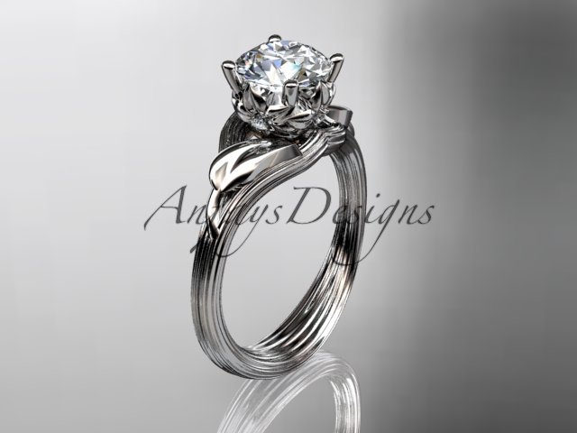 14kt white gold diamond flower, leaf and vine wedding ring, engagement ring ADLR240