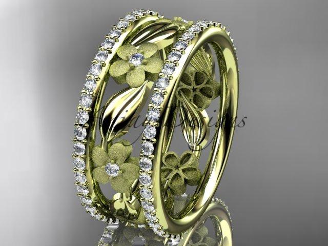 14k yellow gold diamond flower wedding ring, engagement ring ADLR233