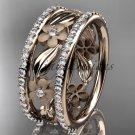 14k rose gold diamond flower wedding ring, engagement ring ADLR233