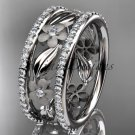 14k white gold diamond flower wedding ring, engagement ring ADLR233