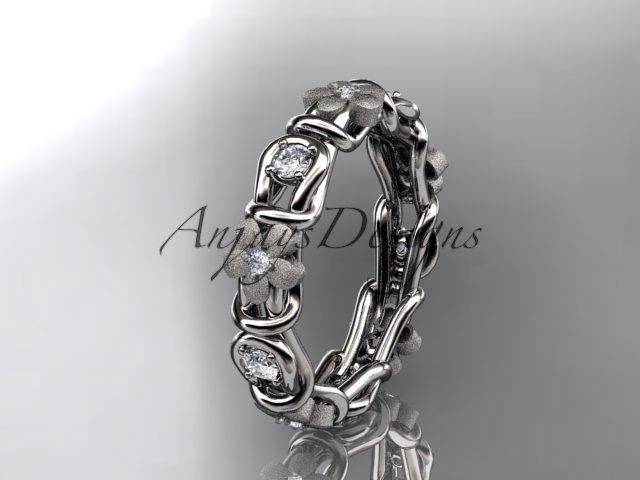 platinum diamond flower wedding ring,engagement ring,wedding band. ADLR 197
