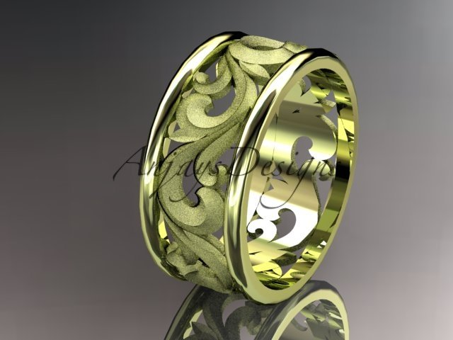 4kt yellow gold diamond leaf and vine wedding ring,engagement ring,wedding band ADLR 121