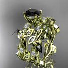 14k yellow gold diamond leaf and vine engagement set with Black Diamond center stone ADLR59S