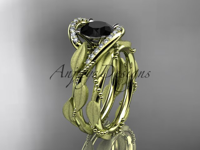 14kt yellow gold diamond leaf and vine engagement set with a Black Diamond center stone ADLR64S