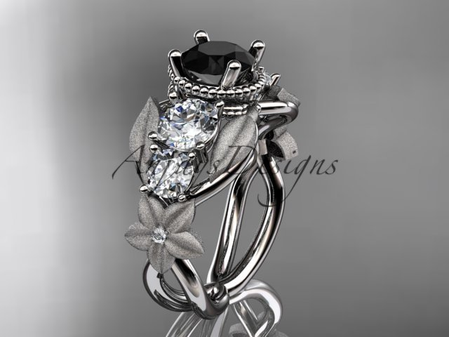 14kt white gold diamond floral, leaf and vine engagement ring with Black Diamond center stone ADLR69