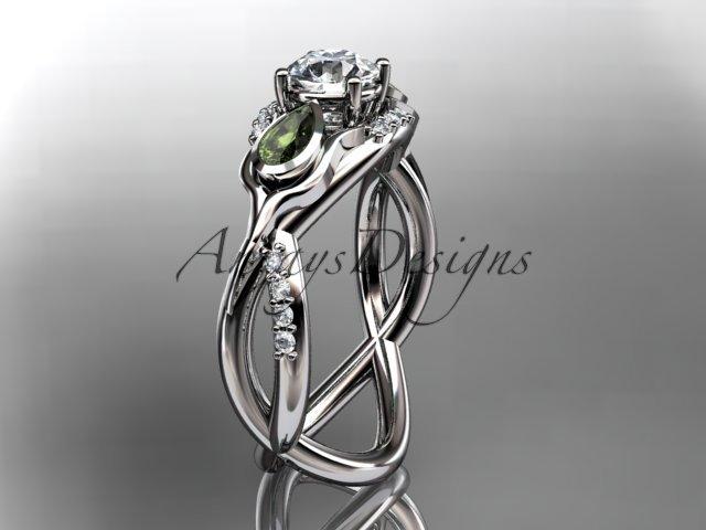 Unique 14kt white gold diamond tulip flower, leaf and vine engagement ring ADLR226