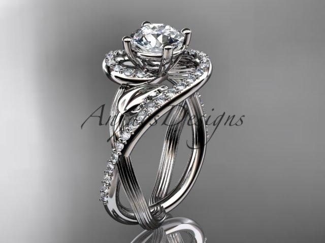 Unique platinum diamond leaf and vine wedding ring, engagement ring ADLR222