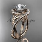 Unique 14kt rose gold diamond leaf and vine wedding ring,engagement ring ADLR222