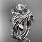 Unique platinum diamond leaf and vine wedding set, engagement set ADLR222
