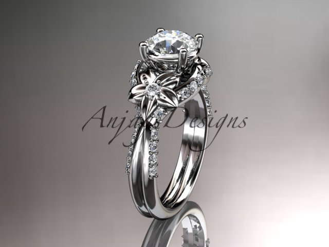 Unique 14kt white gold diamond flower, leaf and vine wedding ring, engagement ring ADLR220