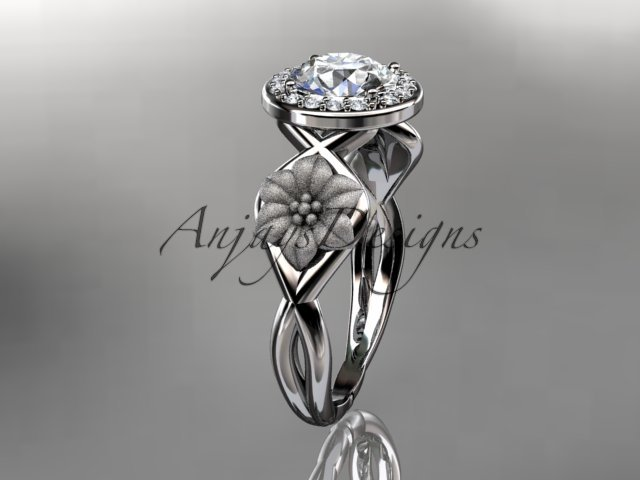 Unique platinum diamond flower wedding ring, engagement ring ADLR219