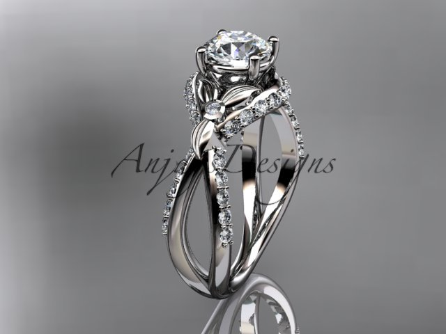 Unique 14kt white gold diamond flower, leaf and vine wedding ring, engagement ring ADLR218