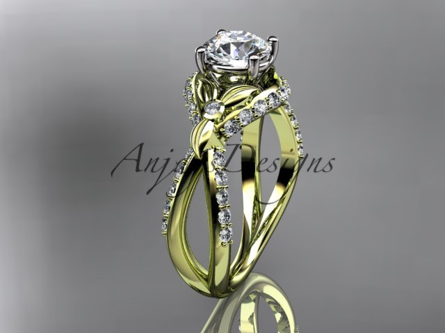Unique 14kt yellow gold diamond flower, leaf and vine wedding ring, engagement ring ADLR218
