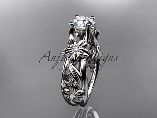 14kt white gold diamond floral wedding ring, engagement ring ADLR216