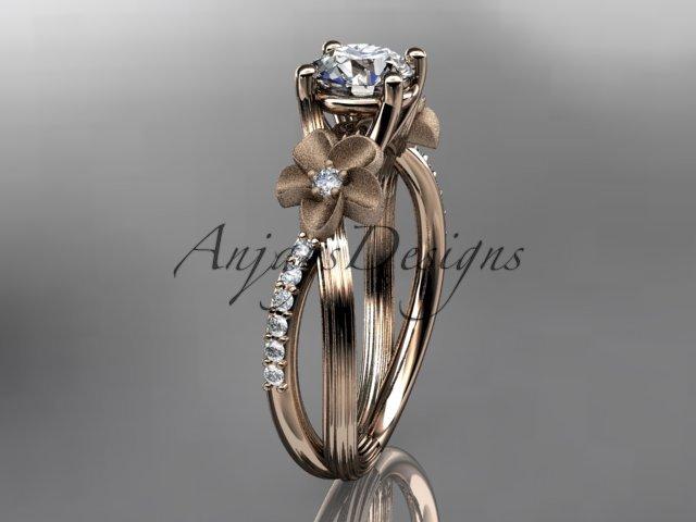 14kt rose gold diamond leaf and vine wedding ring, engagement ring ADLR214
