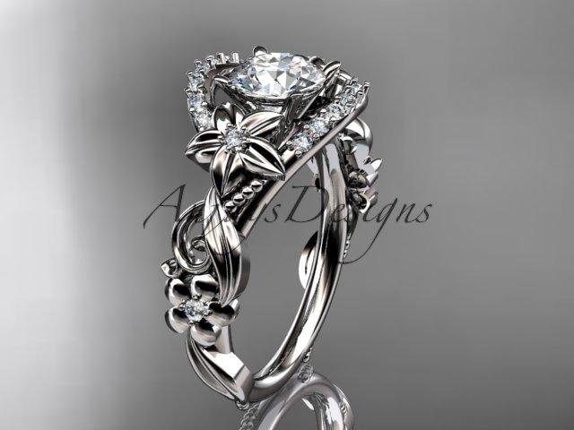 14k white gold flower diamond unique engagement ring ADLR211