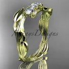 14kt yellow gold diamond leaf and vine three stone ring ADLR247