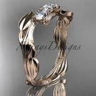 14kt rose gold diamond leaf and vine three stone ring ADLR247