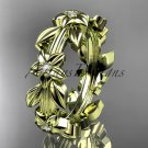 14kt yellow gold diamond leaf wedding ring,engagement ring, wedding band ADLR316