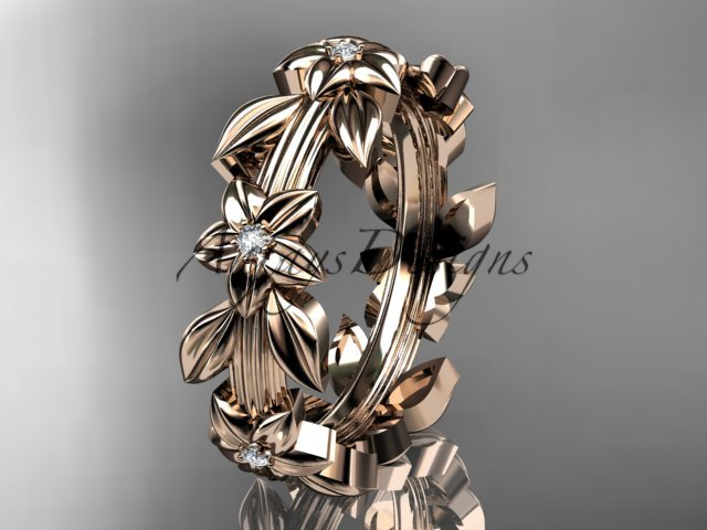 14kt rose gold diamond leaf wedding ring, engagement ring, wedding band ADLR316