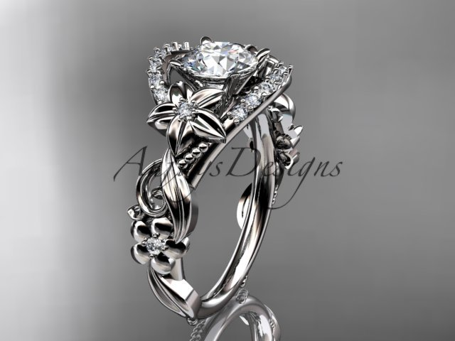 Platinum flower diamond unique engagement ring ADLR211