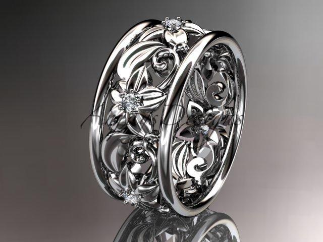 14kt white gold diamond leaf and vine wedding ring wedding band ADLR150