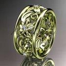 14kt yellow gold diamond leaf and vine wedding ring, wedding band ADLR150