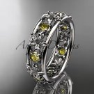 14kt white gold diamond engagement ring, wedding band. ADLR160 nature inspired jewelry